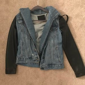 Blank NYC Jean Jacket with Leather Sleeves